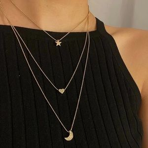 🆕3/$30 moon & star gold layered necklace
